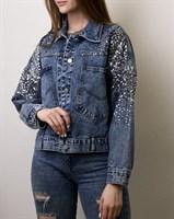 Джинсовая куртка с пайетками (9909)