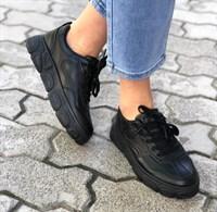 Кеды черные кожаные (K18-1)