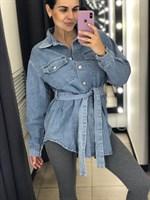 Рубашка джинсовая с поясом (2135-F)