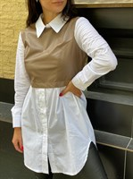 Рубашка-кожаный жилет (186)