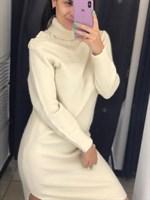 Платье теплое пуговицы на горловине (5219)